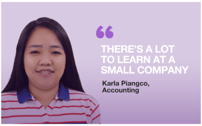 "Introducing Karla Piangco: ""There's a lot to learn at a small company"""